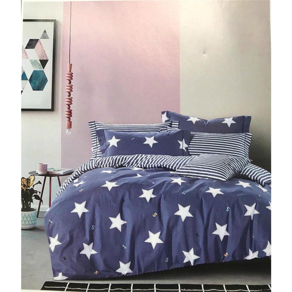 Dvoudílné povlečení bavlna hvězdy modrá 140x200