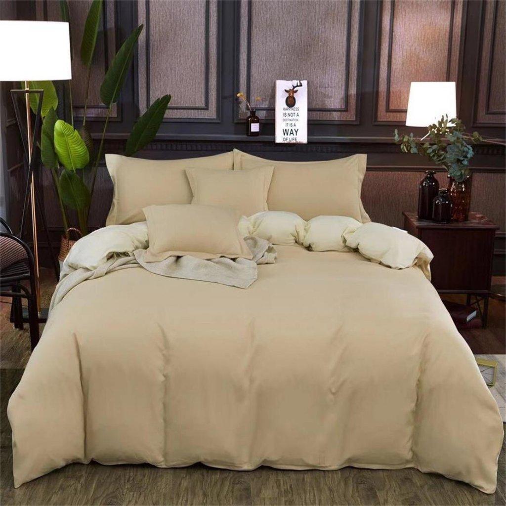Sedmidílné povlečení bavlna/mikrovlákno béžová krémová 140x200 na dvě postele