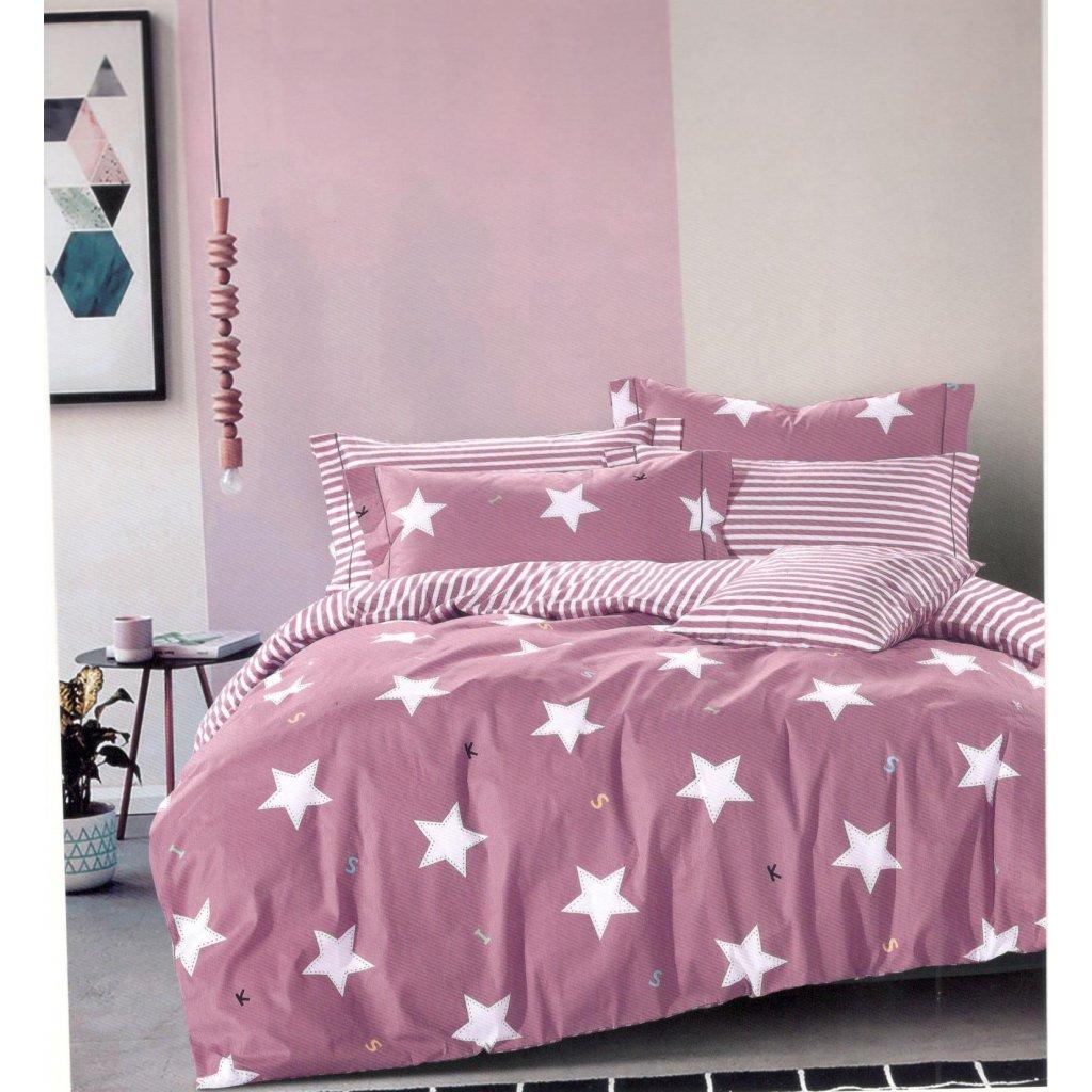 Dvoudílné povlečení bavlna hvězdy růžová 140 x 200 na jednu postel