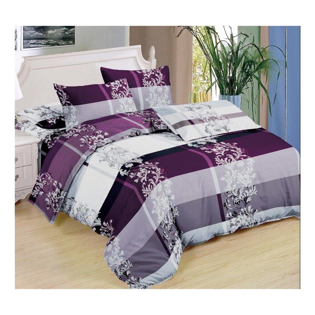 Sedmidílné povlečení ornamenty bavlna/mikrovlákno fialová šedá bílá 140x200 na dvě postele