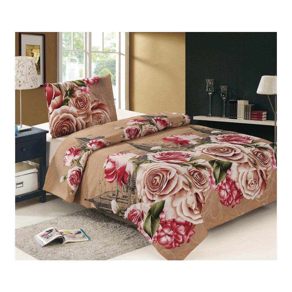 Dvoudílné povlečení bavlna/mikrovlákno růže béžová 140x200