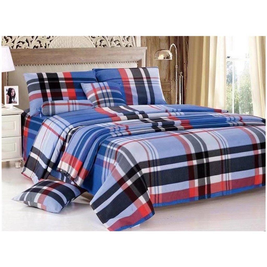 Osmidílné povlečení kárované bavlna/mikrovlákno modrá červená 140x200 na dvě postele