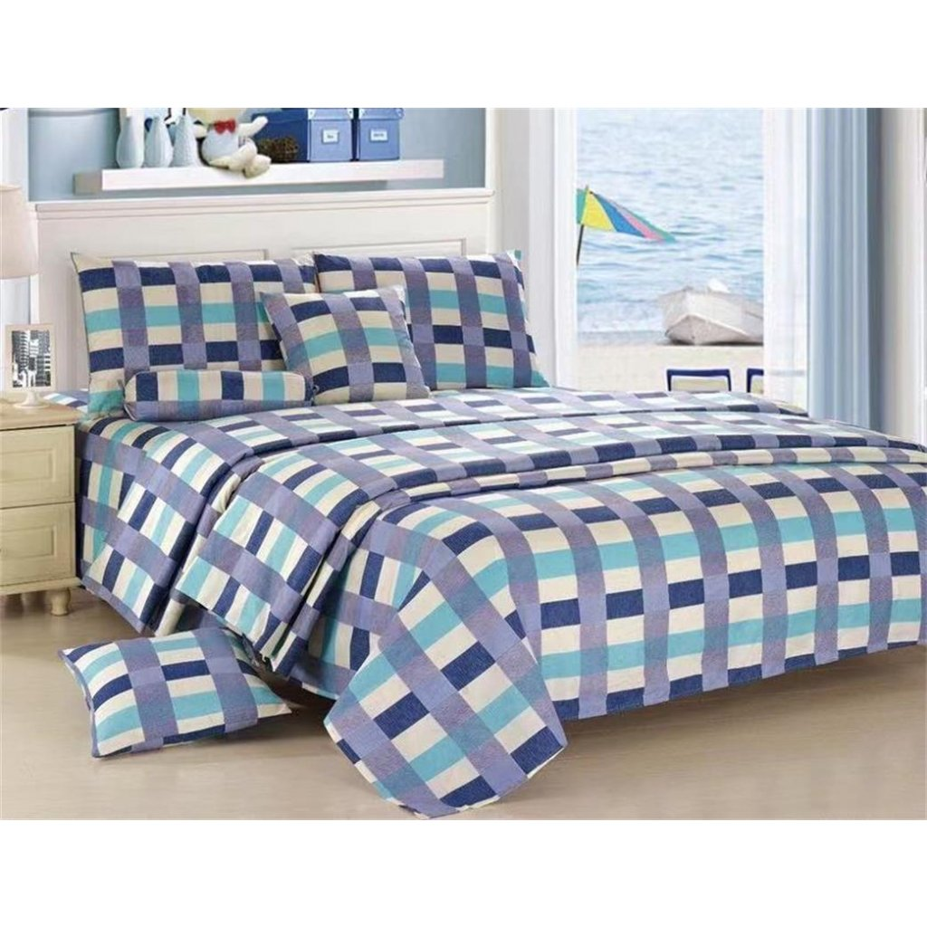 Osmidílné povlečení kárované bavlna/mikrovlákno modrá šedá 140x200 na dvě postelebílá