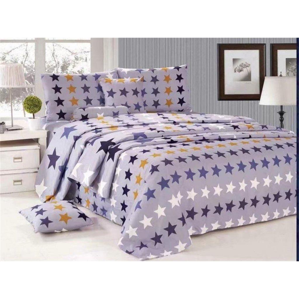 Osmidílné povlečení různé hvězdy bavlna/mikrovlákno šedá 140x200 na dvě postele