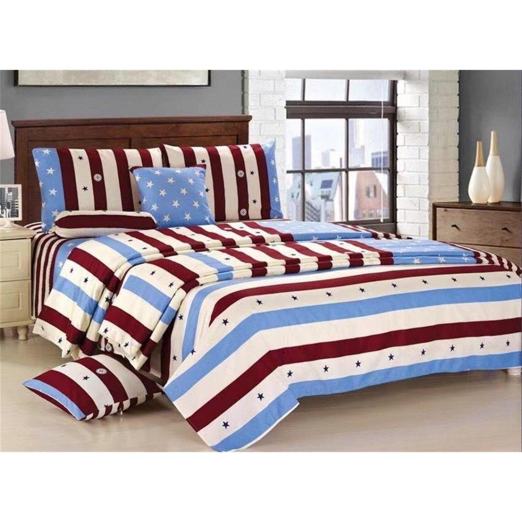 Osmidílné povlečení pruhy bavlna/mikrovlákno modrá bílá vínová 140x200 na dvě postele