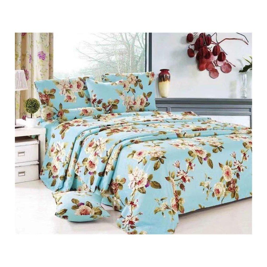 Osmidílné povlečení květy s listy bavlna mikrovlákno 140x200 na dvě postele