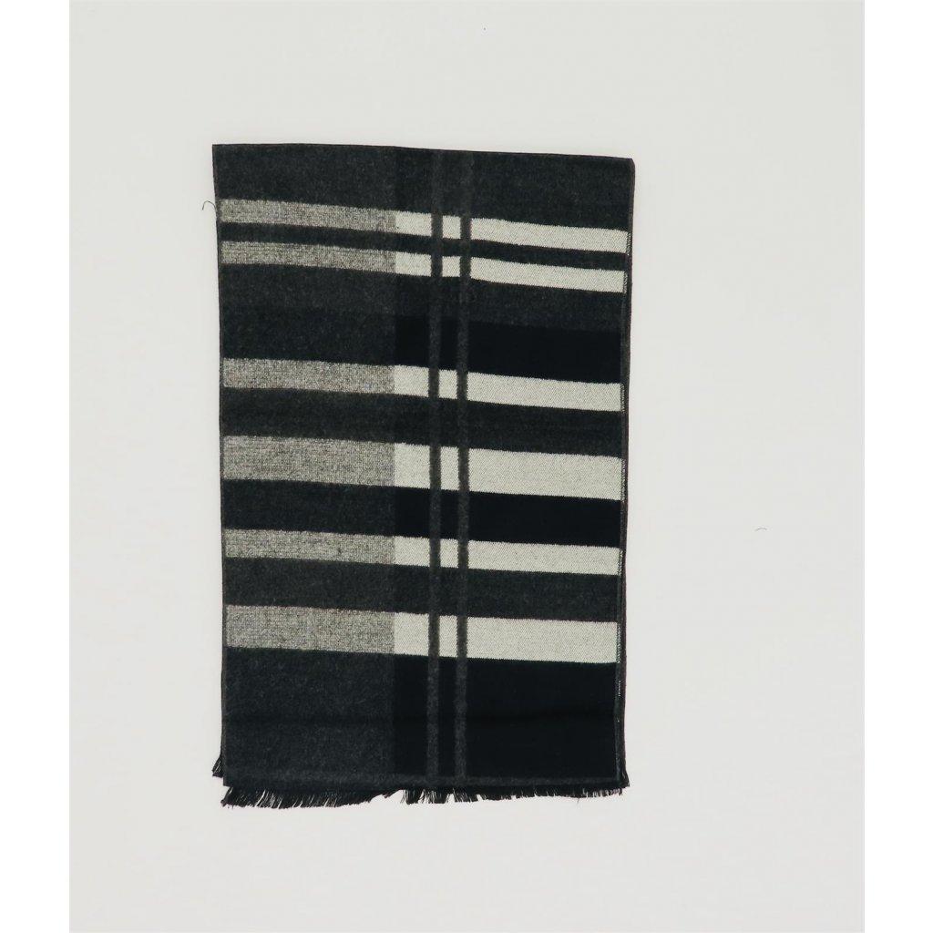 Pánská šála 190 x 30 cm kašmír hedvábí pruhy šedá černá