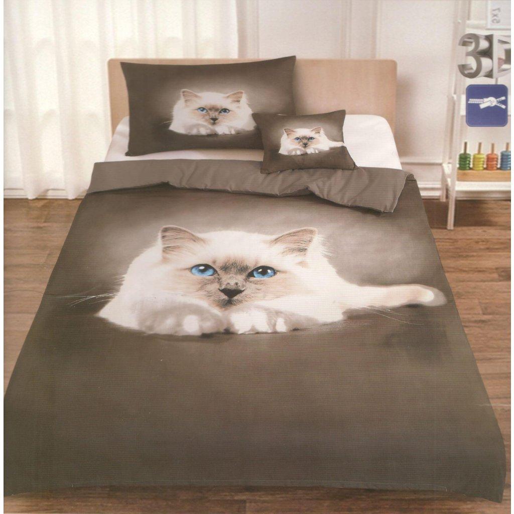 Dvoudílné povlečení kočka 3 D bílá hnědá