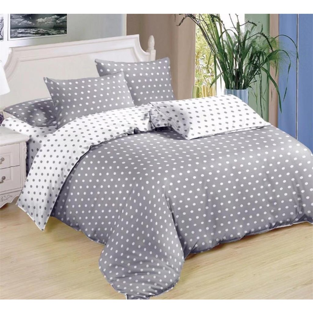 Sedmidílné povlečení puntíky šedá bílá 140 x 200 na dvě postele