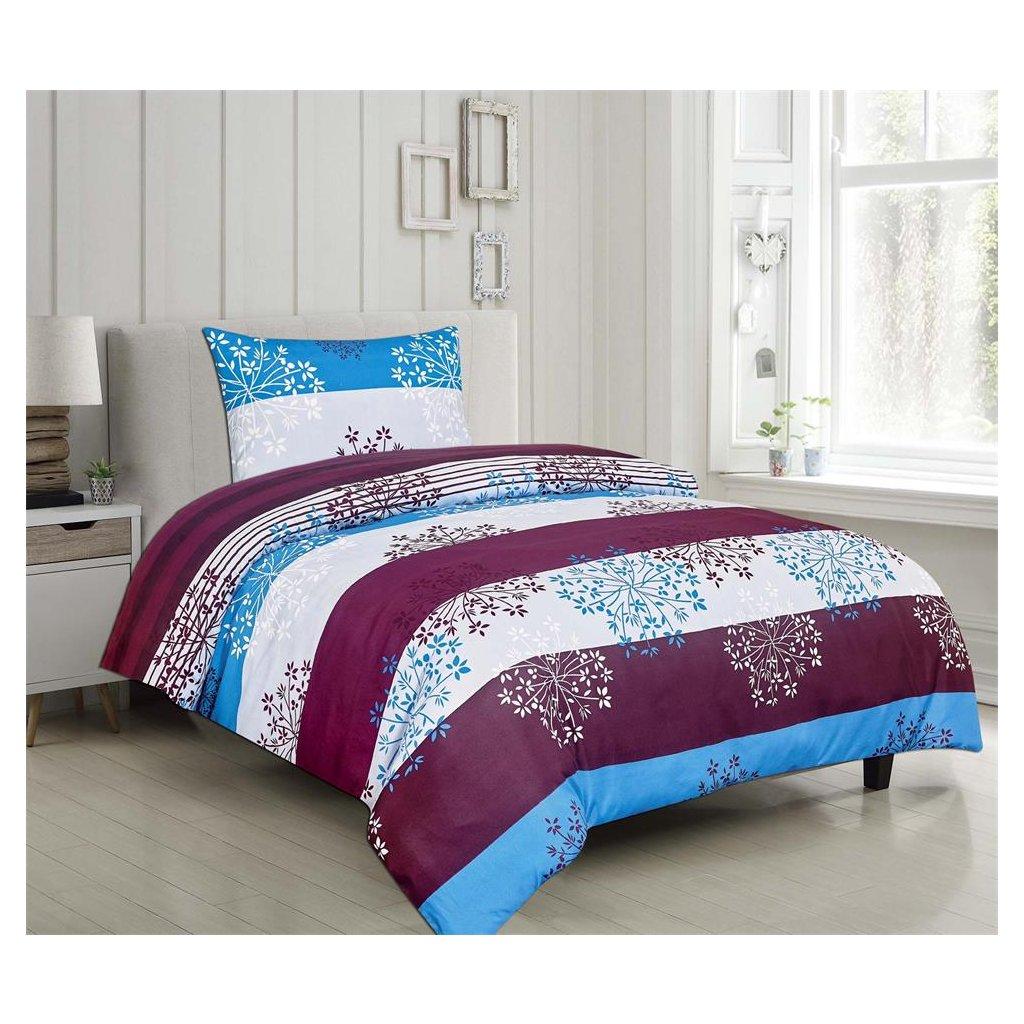 Dvoudílné povlečení pruhované bavlna/mikrovlákno modrá fialová