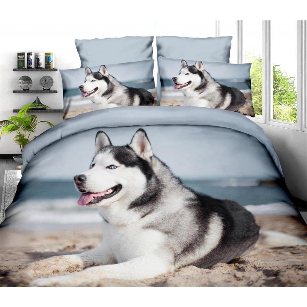 Sedmidílné povlečení pes 3 D modrá světlá 140x200 na dvě postele