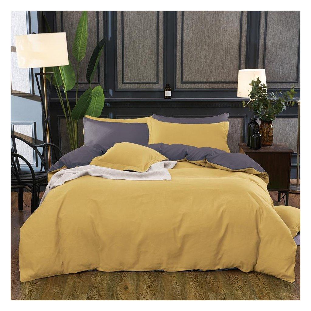 Sedmidílné povlečení bavlna/mikrovlákno žlutá šedá 140x200 na dvě postele