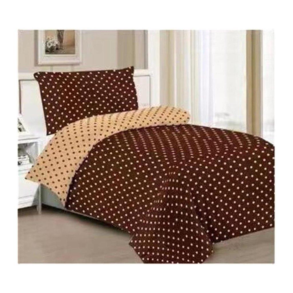 Dvoudílné povlečení puntíky bavlna/mikrovlákno hnědá žlutá 140x200 na jednu postel