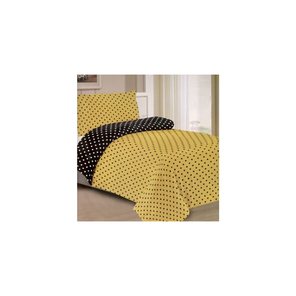 Dvoudílné povlečení puntíky bavlna/mikrovlákno žlutá černá 140x200 na jednu postel