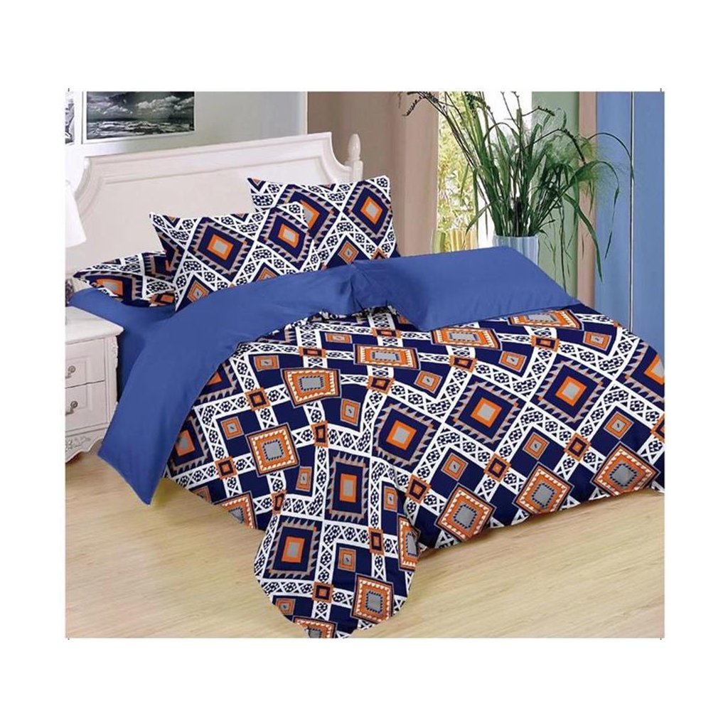 Sedmidílné povlečení Mexiko bavlna/mikrovlákno černá oranžová 140x200 na dvě postele