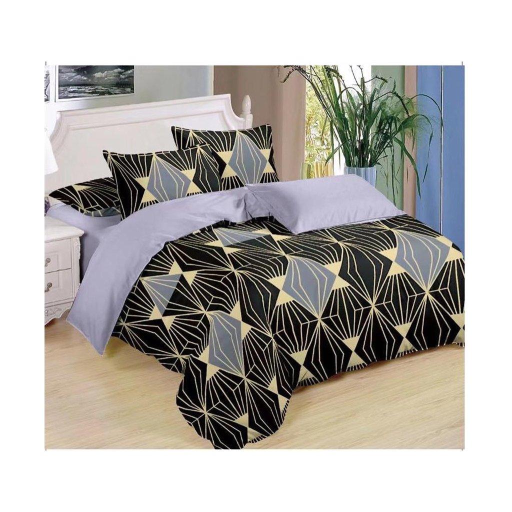 Sedmidílné povlečení diamant bavlna/mikrovlákno černá 140x200 na dvě postele