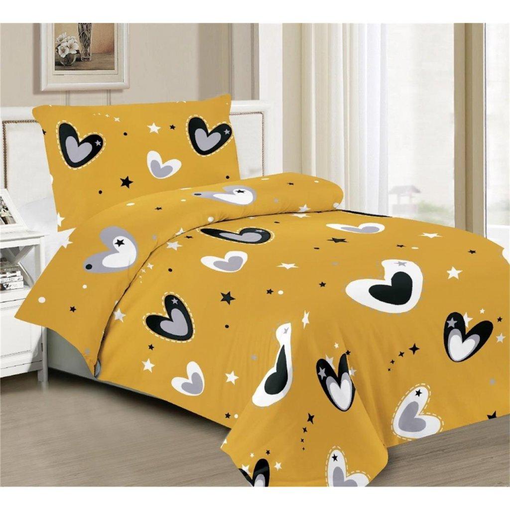 Povlečení srdce hvězdy bavlna mikrovlákno žlutá 140x200 na jednu postel
