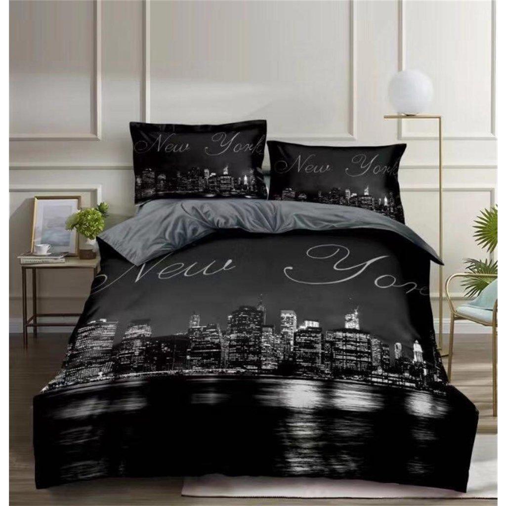 Povlečení New York 3D černá šedá 140x200 na jednu postel