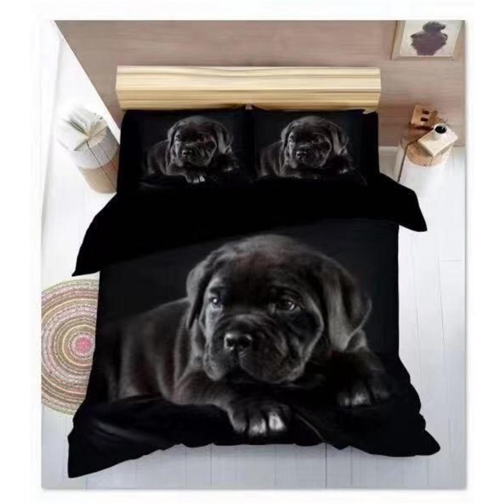 Povlečení pes 3D černá 140x200 na jednu postel