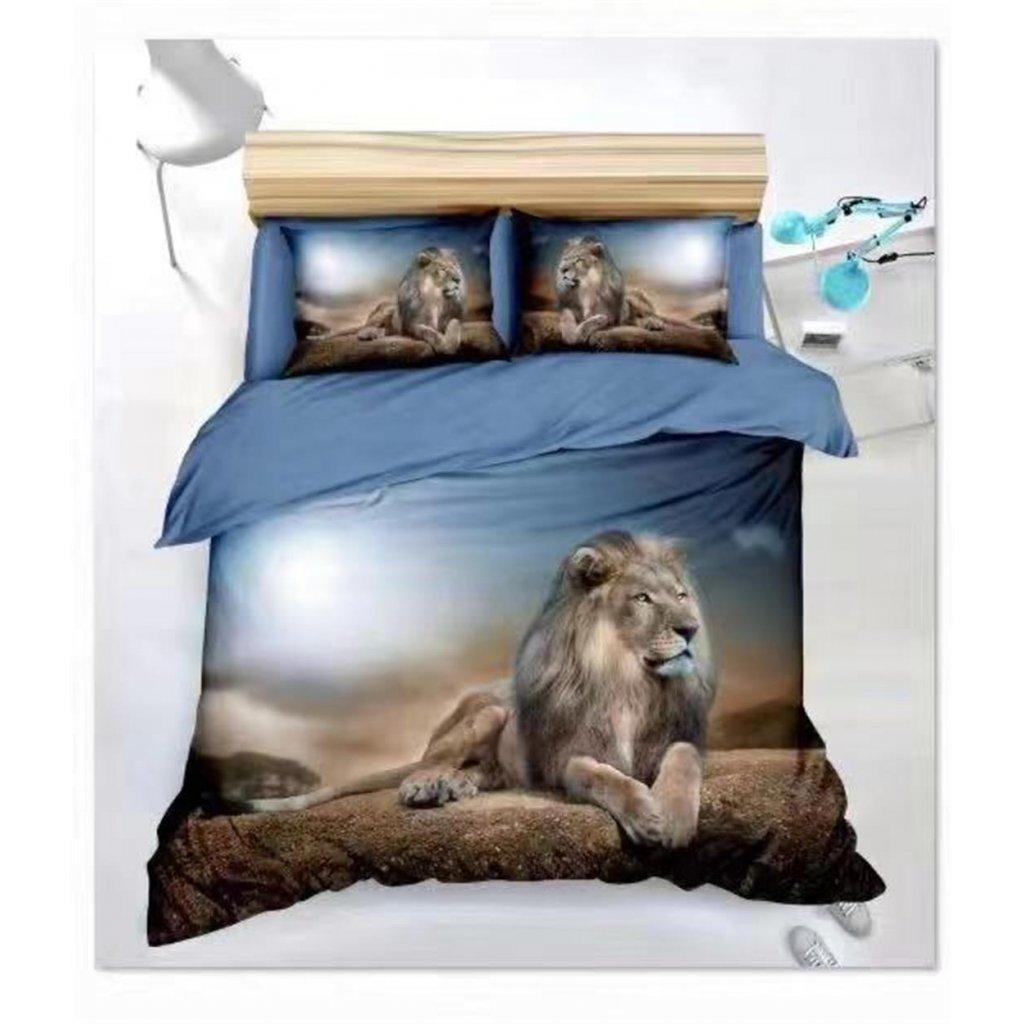 Povlečení lev 3D modrá 140x200 na jednu postel