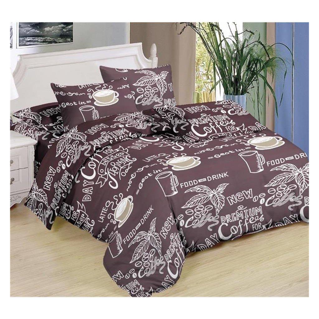 Sedmidílné povlečení coffee bavlna mikrovlákno 140x200 na dvě postele