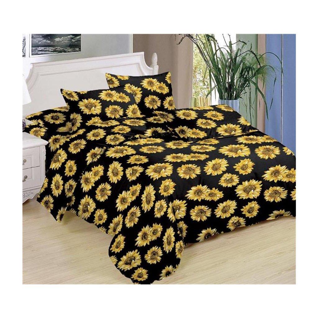 Sedmidílné povlečení slunečnice bavlna mikrovlákno černá žlutá 140x200 na dvě postele