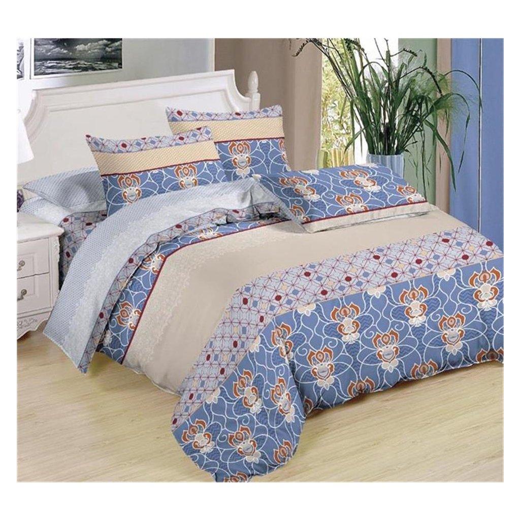 Sedmidílné povlečení ornamenty bavlna mikrovlákno modrá béžová šedá 140x200 na dvě postele