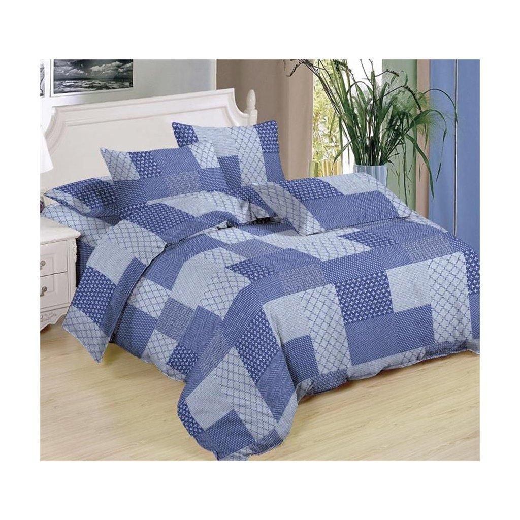 Sedmidílné povlečení čtverce bavlna mikrovlákno modrá 140x200 na dvě postele