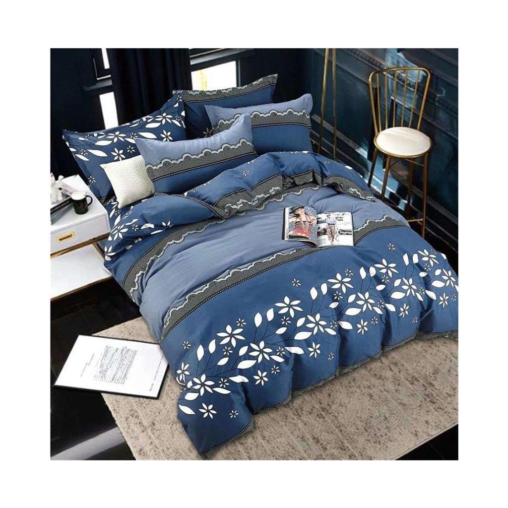 Dvoudílné povlečení květy bavlna mikrovlákno modrá 140x200 na jednu postel