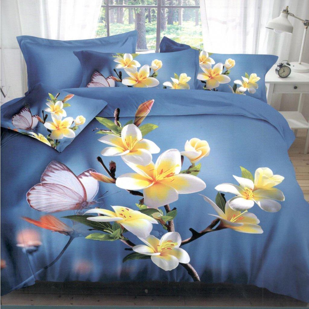 Dvoudílné povlečení květy bavlna mikrovlákno modrá bílá 140x200 na jednu postel