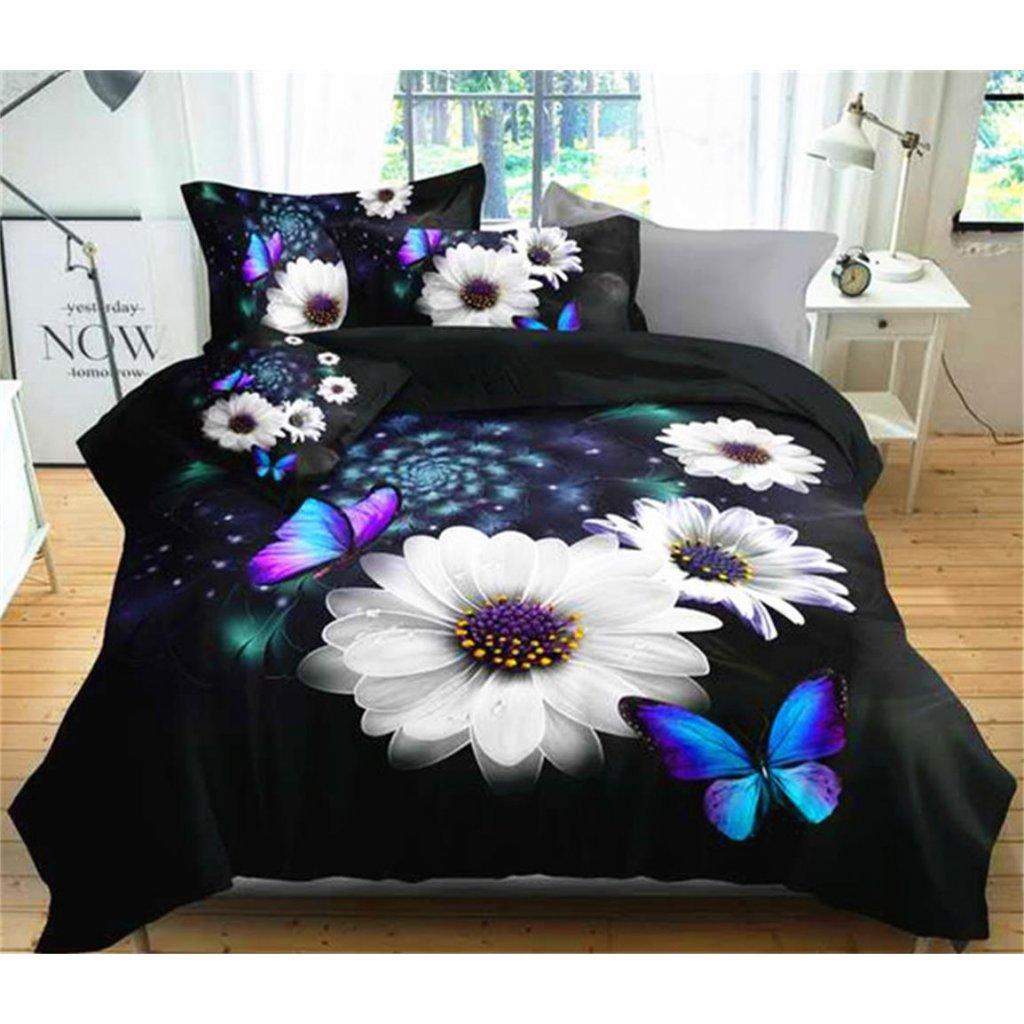 Dvoudílné povlečení květy bavlna mikrovlákno černá bíla 140x200 na jednu postel