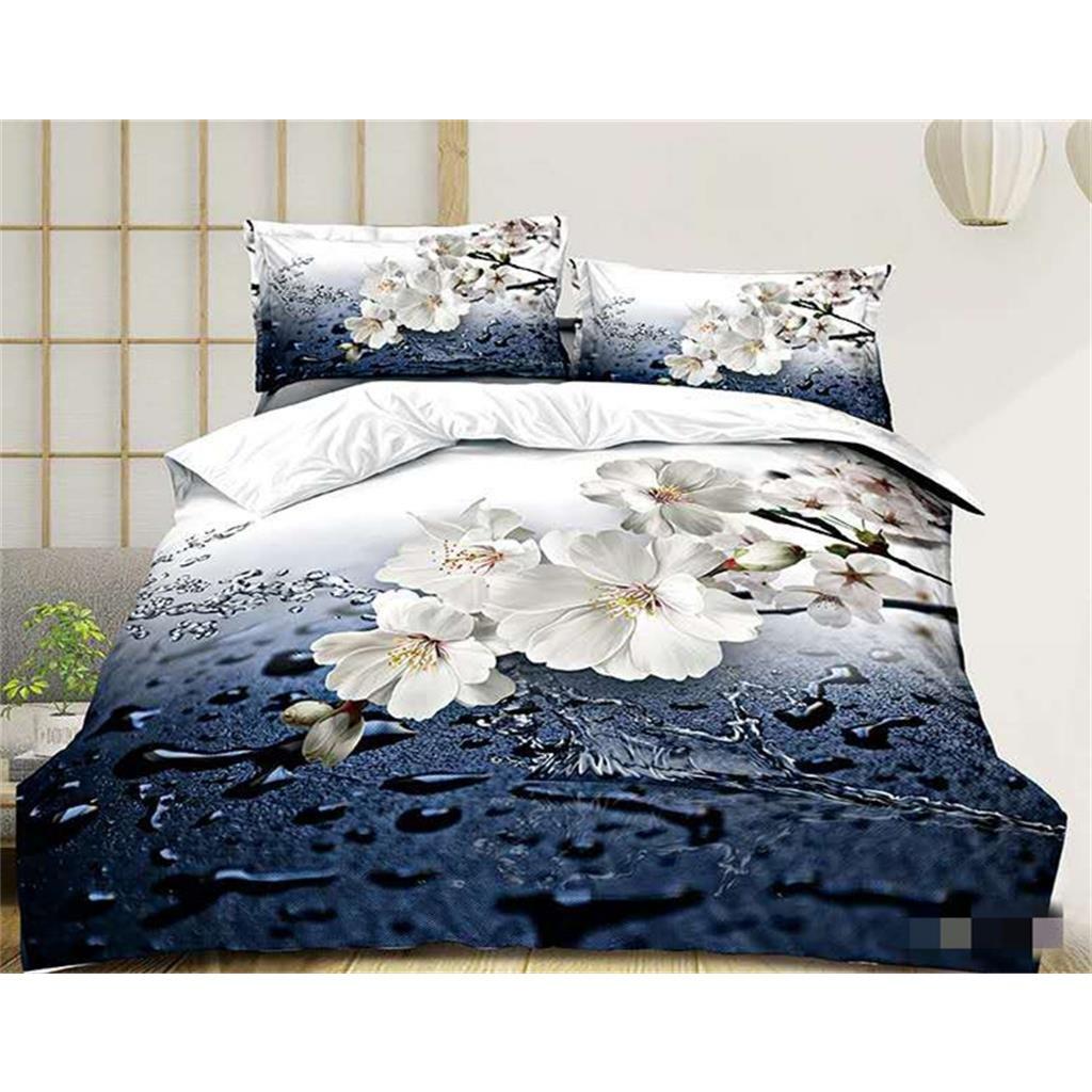 Dvoudílné povlečení květ jabloně bavlna mikrovlákno modrá bílá 140x200 na jednu postel