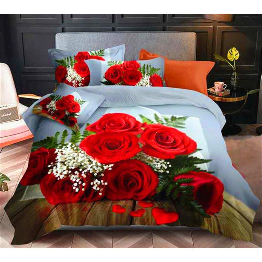 Dvoudílné povlečení růže bavlna mikrovlákno červená 140x200 na jednu postel