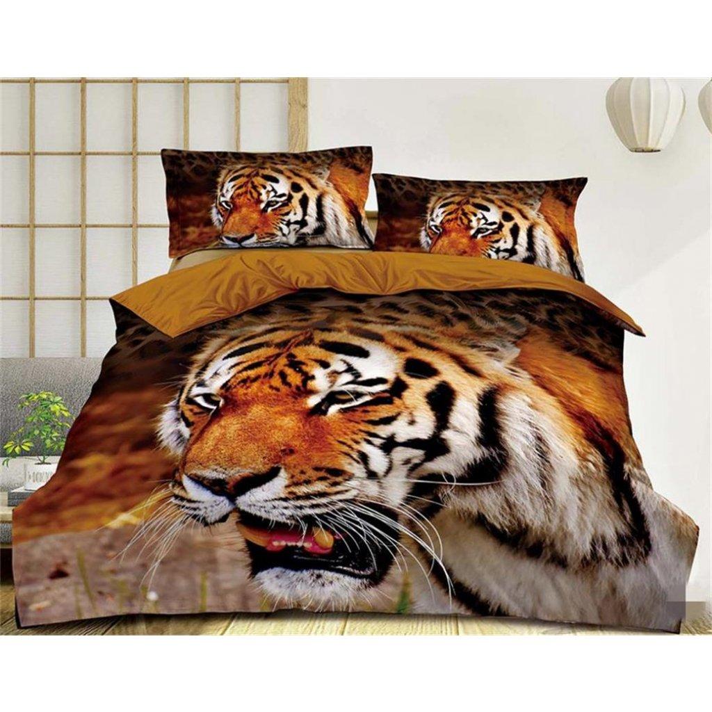 Dvoudílné povlečení tygr bavlna mikrovlákno hnědá 140x200 na jednu postel
