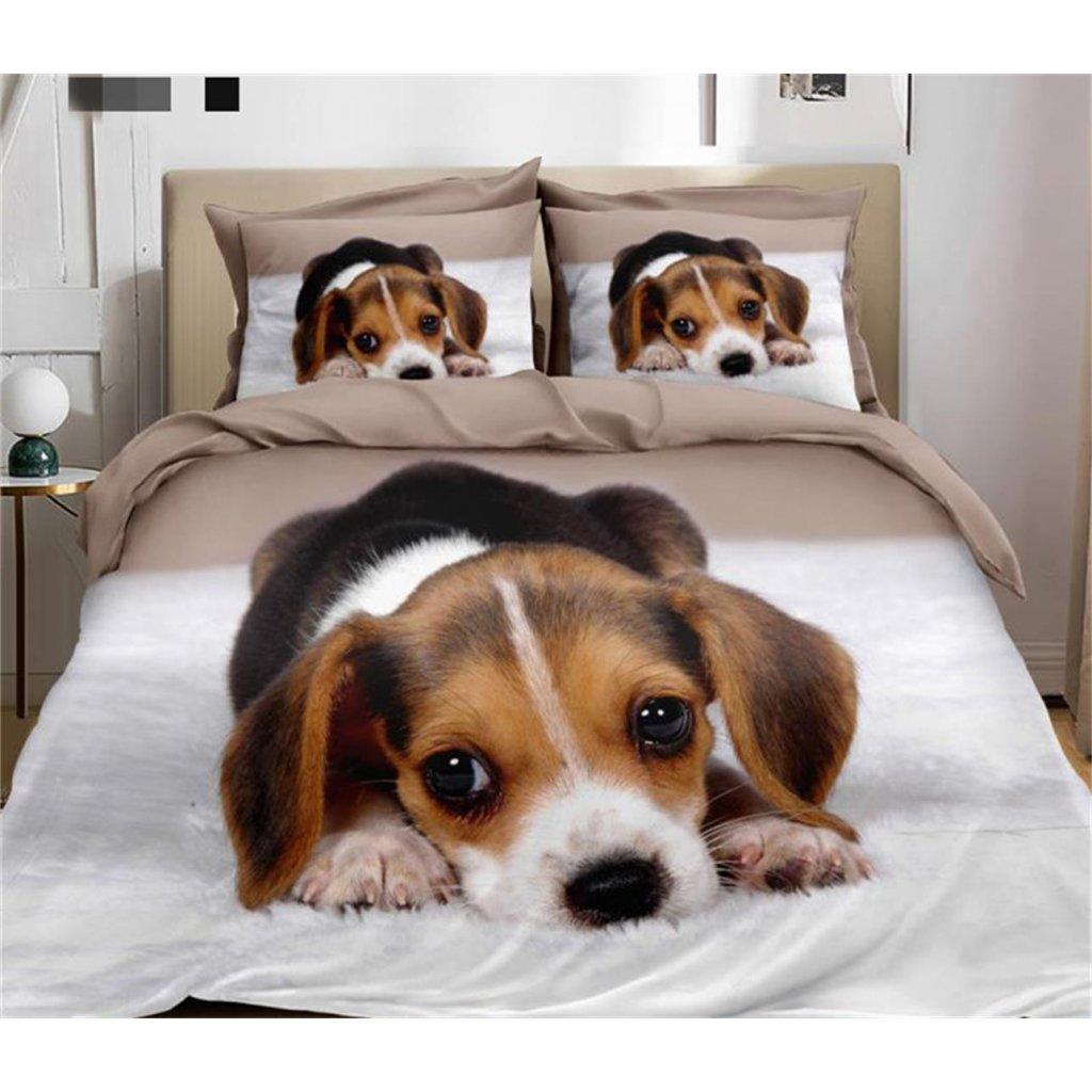Dvoudílné povlečení štěně bavlna mikrovlákno bílá béžová 140x200 na jednu postel
