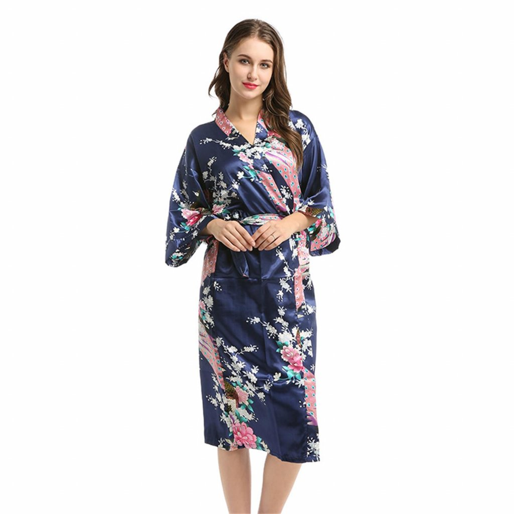 Dámský saténový župan kimono s krátkým rukávem modrá