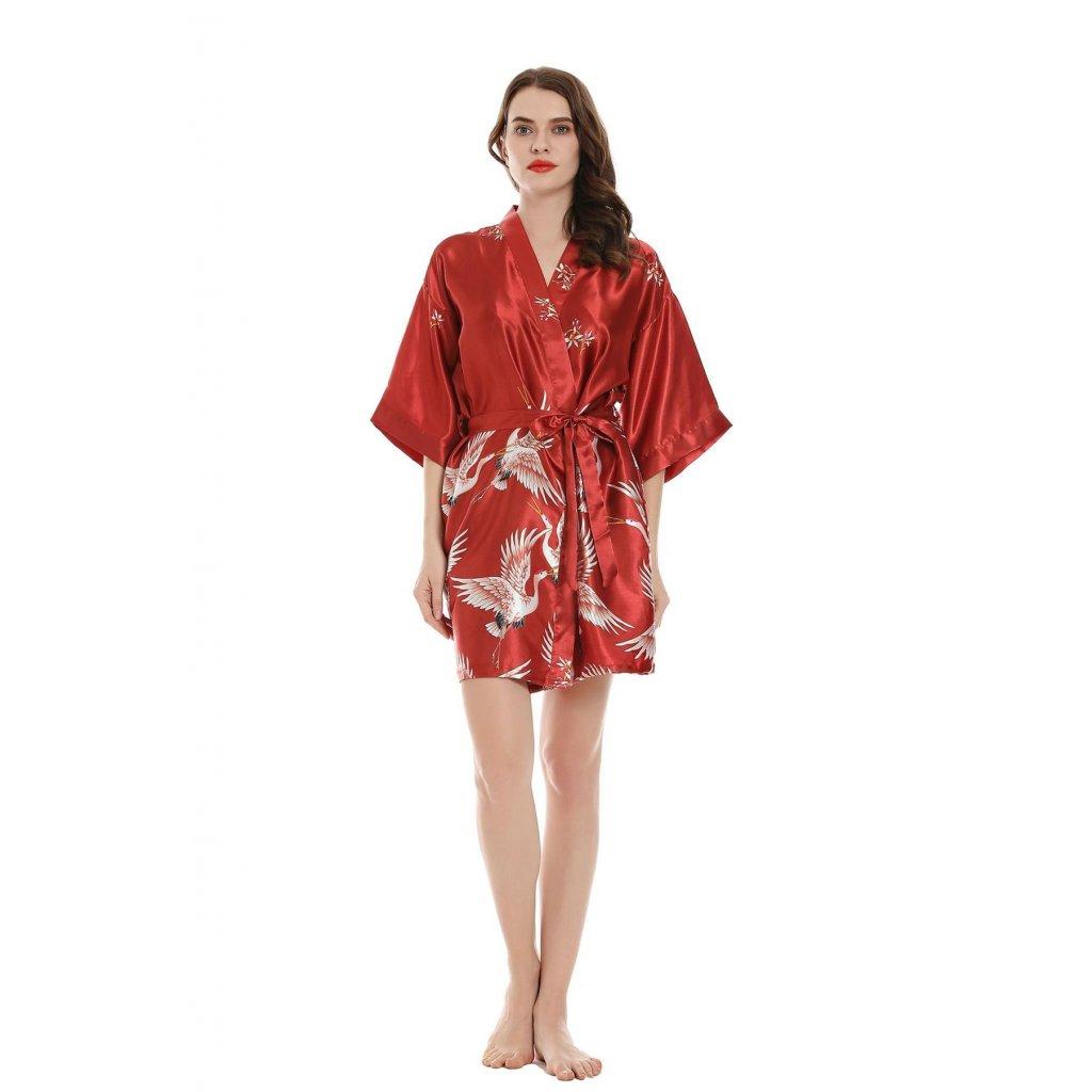 Dámský saténový župan kimono krátký červená
