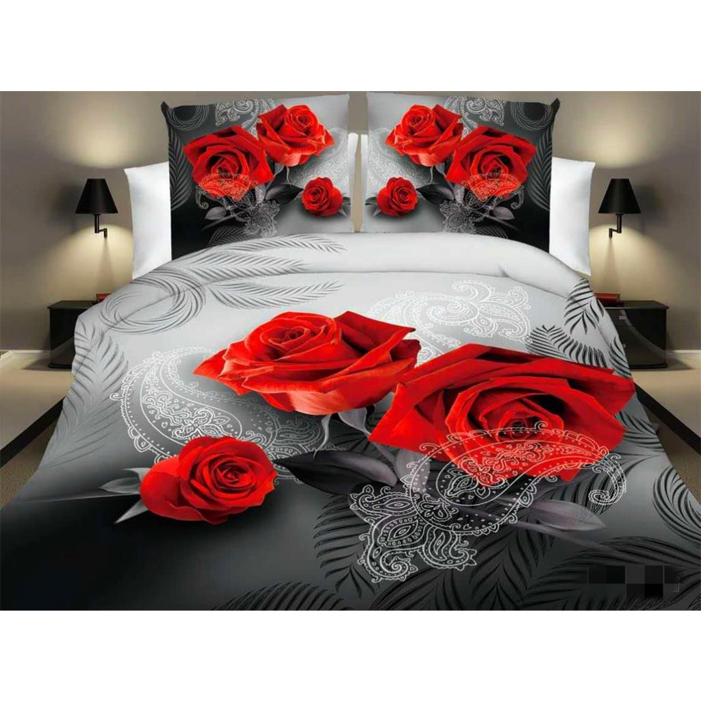 Dvoudílné povlečení růže ornament bavlna mikrovlákno červená 140x200 na jednu postel