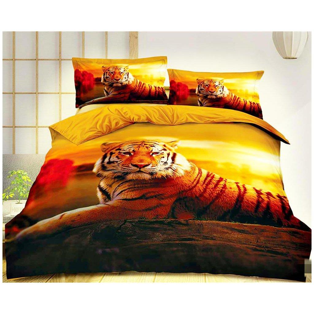 Dvoudílné povlečení ležící tygr bavlna mikrovlákno 140x200 na jednu postel