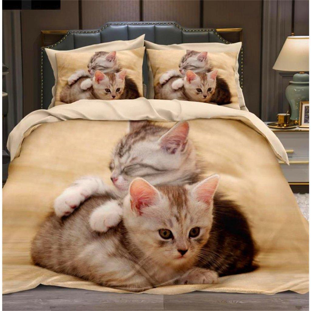Dvoudílné povlečení koťata bavlna mikrovlákno 140x200 na jednu postel
