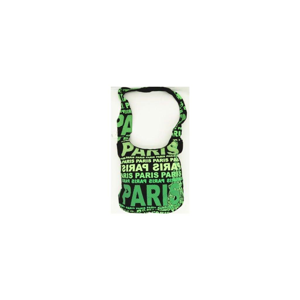 Dámská látková crossbody taška s potiskem Paris zelená