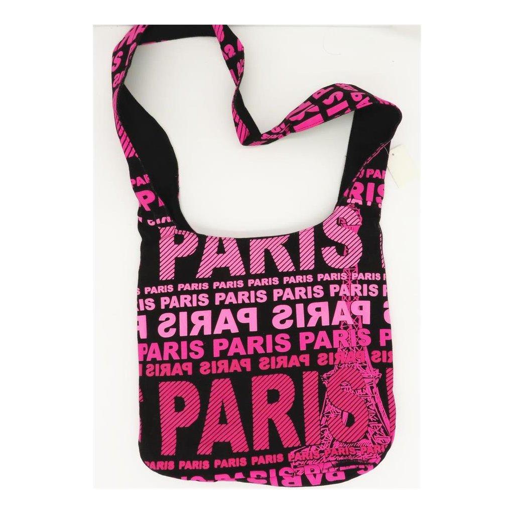 Dámská černá látková taška crossbody s růžovým potiskem Paris