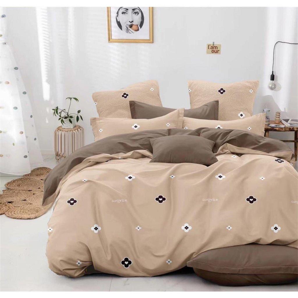 Sedmidílné povlečení surprise bavlna mikrovlákno béžová hnědá 140x200 na dvě postele