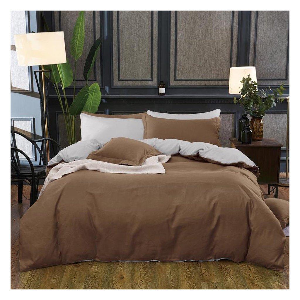 Sedmidílné povlečení bavlna mikrovlákno hnědá šedá 140x200 na dvě postele