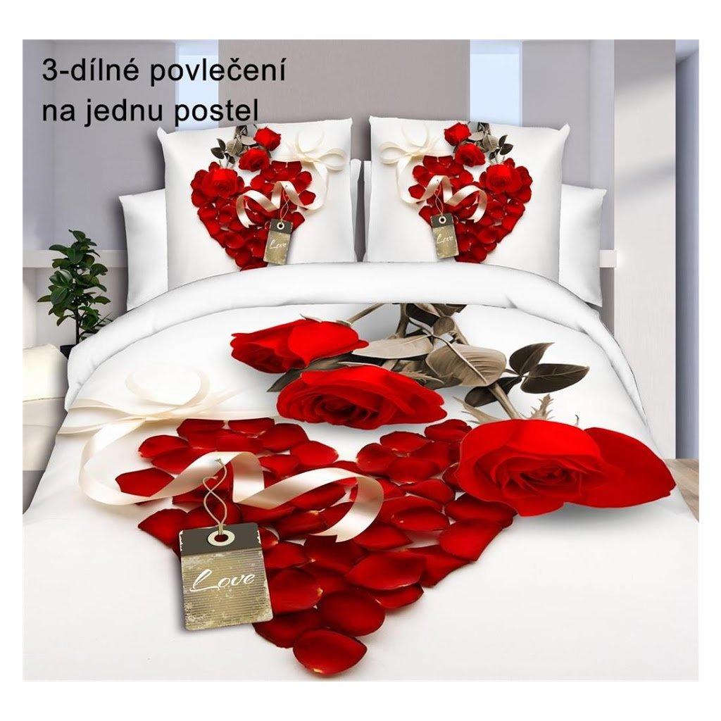 Trojdílné povlečení růže bavlna mikrovlákno červená 140x200 na jednu postel