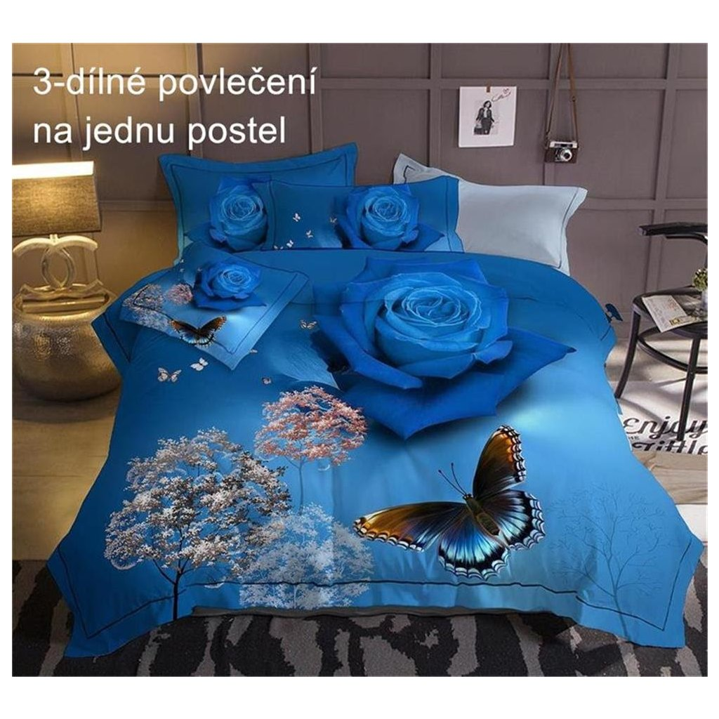 Trojdílné povlečení růže bavlna mikrovlákno modrá 140x200 na jednu postel