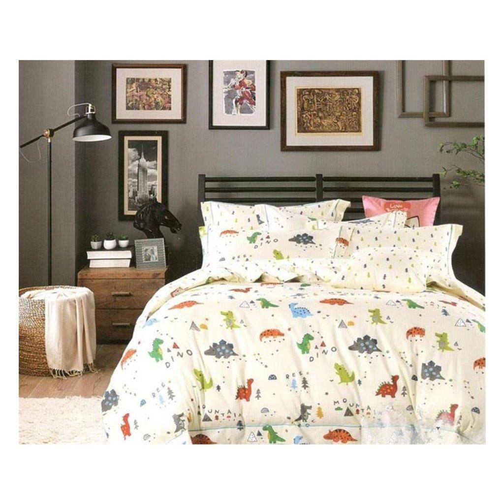 Dětské povlečení Dino krémová 100x140 na jednu postel