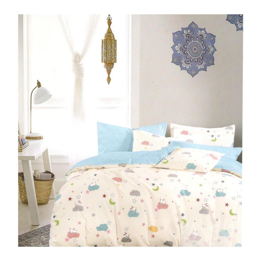 Dětské povlečení králíček modrá 100 x 140 na jednu postel