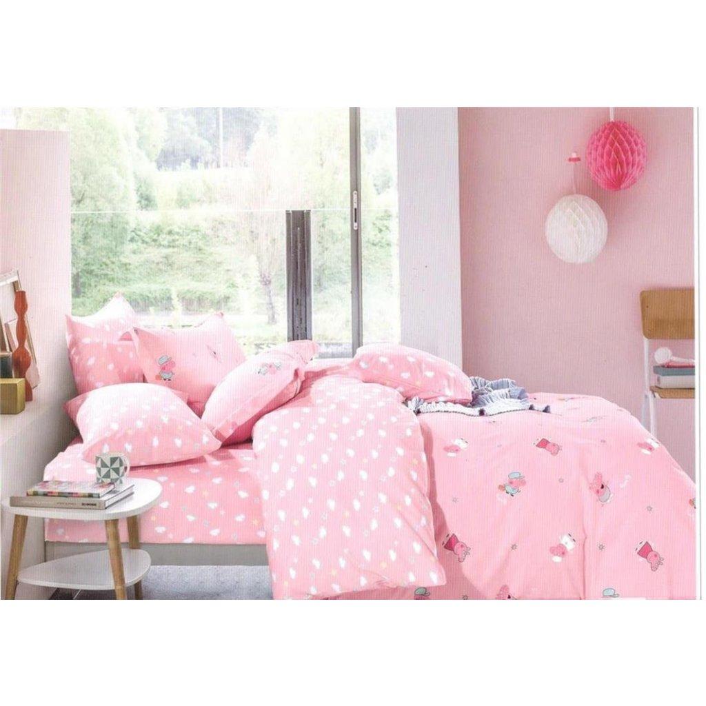 Dětské povlečení prasátko růžová 100 x 140 na jednu postel