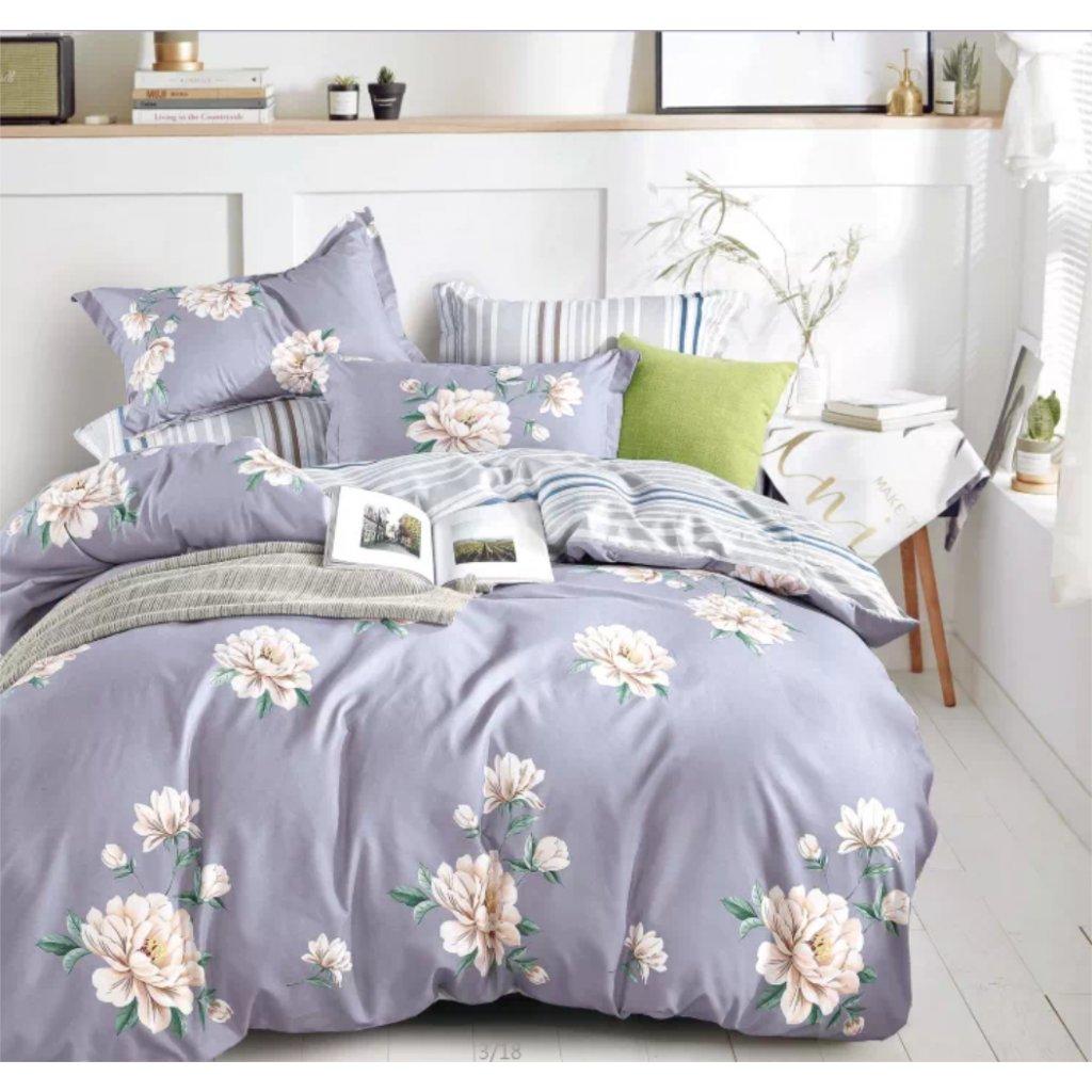 7-dílné povlečení jarní květy šedá 140 x 200 na dvě postele